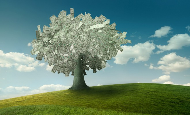 A tree made of money