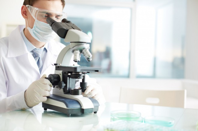 Medical researcher looking through a microscope in a laboratory